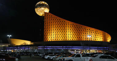 The Golden Moon Hotel and Casino, part of the Pearl River Resort is lit in Philadelphia, Miss.