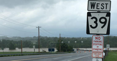 Route 39 north of Hersheypark was closed Wednesday as the swollen Swatara Creek left its banks.