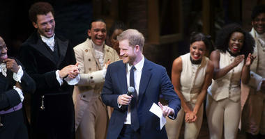 Britain's Prince Harry addresses the audience after a gala performance of the musical Hamilton, in support of the charity Sentebale, at the Victoria Palace Theatre in London, Wednesday, Aug. 29 2018.
