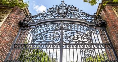 The historic gate of the famous Harvard University in Cambridge, Massachusetts