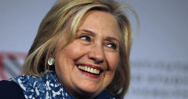 In this May 25, 2018 file photo, Hillary Clinton smiles as she is introduced at Harvard University in Cambridge, Mass.