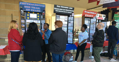 Philadelphia School District students show off their research projects at the National Constitution Center for National History Day.
