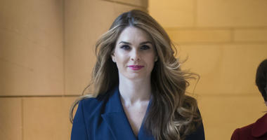 In this Feb. 27, 2018 photo, then-White House Communications Director Hope Hicks arrives to meet behind closed doors with the House Intelligence Committee, at the Capitol in Washington.