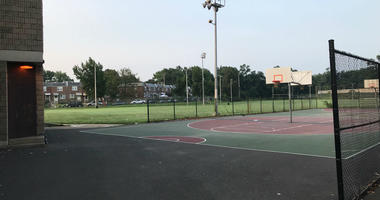 A boy was injured by an explosive device in this playground.