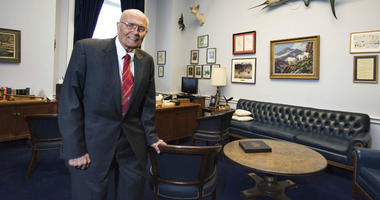 In a Feb. 4, 2009 file photo, Rep. John Dingell, D-Mich. poses for a photograph inside his office in House Rayburn Office Building on Capitol Hill in Washington.