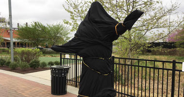 The Kate Smith statue near the Wells Fargo Center is covered, amid reports the Flyers have cut ties with her over racist song lyrics.