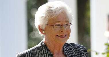 In this Friday, Nov. 17, 2017 file photo, Alabama Gov. Kay Ivey speaks to the media in Montgomery, Ala. Alabama lawmakers have passed a near total ban on abortion.