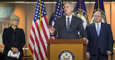 House Minority Leader Kevin McCarthy of Calif., speaks accompanied by House Republican Conference chair Rep. Liz Cheney, R-Wyo., and House Minority Whip Steve Scalise of La., during a news conference on Tuesday, Jan. 15, 2019, in Washington.
