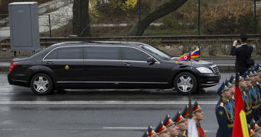 North Korean leader Kim Jong Un's limousine arrives for a wreath-laying ceremony in Vladivostok, Russia, Friday, April 26, 2019.