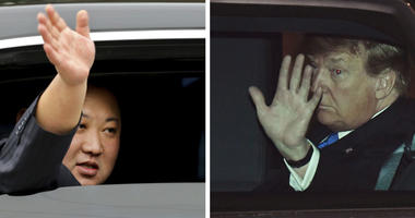 North Korean leader Kim Jong Un, left, waves from a car in Dong Dang, Vietnam, and U.S. President Donald Trump waves from his car in Hanoi, Vietnam, Tuesday, Feb. 26, 2019.