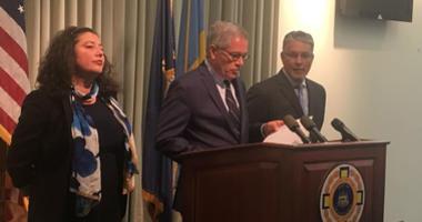 From left: Lyandra Retacco, supervisor of the charging unit; D.A. Larry Krasner; Anthony Voci, supervisor of the homicide unit