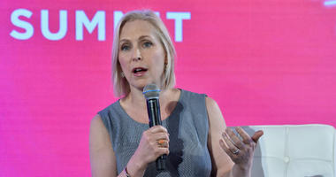 """New York State Senator Kirsten Gillibrand speaks at the 14th Annual """"#BlogHer18"""" Creators Summit at Pier 17 in New York, NY, on August 9, 2018."""