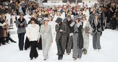 Model Cara Delevingne, second from left, looks as models wipe tears from their eyes as they wear creations as part of the Chanel ready to wear Fall-Winter 2019-2020 collection, that was presented in Paris, Tuesday, March 5, 2019.