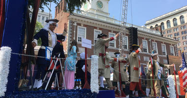 As America rang in its 242nd year, 4,000 participants made their way down the cobblestone streets around Independence Hall for the Independence Day parade.
