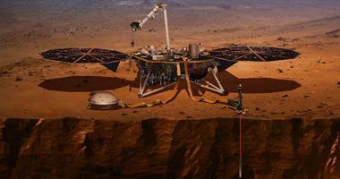 artist's rendering of the Mars InSight lander
