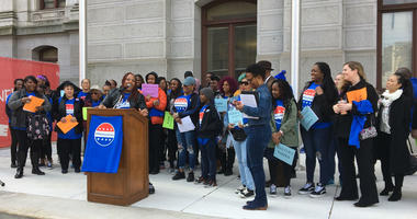 The Mastery Charter School community rallies outside of Philadelphia City Hall