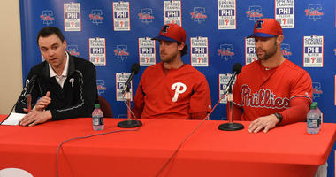 Philadelphia Phillies Vice President and General Manager Matt Klentak , pitcher Aaron Nola, and manager Gabe Kapler talks to the media during spring training at Spectrum Field.