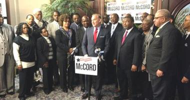 Rob McCord is shown being endorsed by the Philadelphia Black Clergy during his gubernatorial run in 2014.