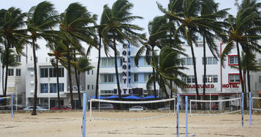 Volleyball courts on Lummus Park Beach, South Beach are empty as a tropical storm warning was issued for the Miami Beach, Fla., area on Monday, Sept. 3, 2018.