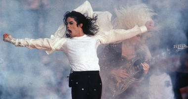 This Feb. 1, 1993 file photo shows Pop superstar Michael Jackson performing during the halftime show at the Super Bowl in Pasadena, Calif.