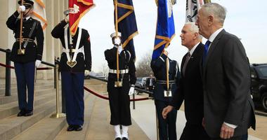 Defense Secretary Jim Mattis welcomes Vice President Mike Pence to the Pentagon, Wednesday, Dec. 19, 2018.