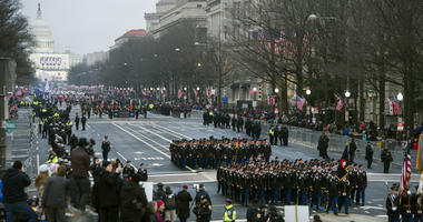 In this Jan. 20, 2017, file photo, military units participate in the inaugural parade from the Capitol to the White House in Washington, Friday, Jan. 20, 2017.