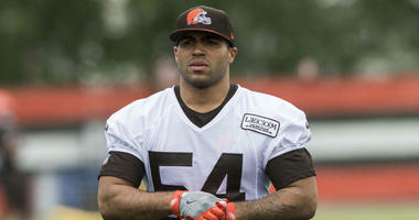 Cleveland Browns linebacker Mychal Kendricks (54) leaves the field after minicamp at the Cleveland Browns training facility.