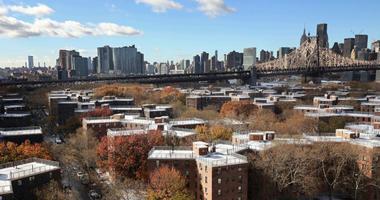 In this Nov. 16, 2018, file photo the Queensbridge Houses sit beneath the Ed Koch Queensboro Bridge, upper right, in New York.