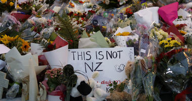 In this Saturday, March 16, 2019, file photo, flowers lay at a memorial near the Masjid Al Noor mosque for victims in last week's shooting in Christchurch, New Zealand.