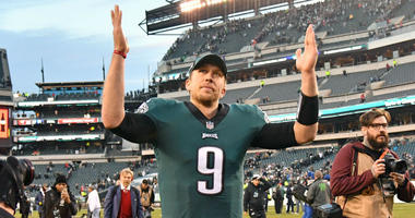 Philadelphia Eagles quarterback Nick Foles (9) runs off the field after win against the Houston Texans at Lincoln Financial Field.