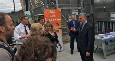 """Kevin Corbett, executive director of NJT, met with commuters at Lindenwold Station for a """"We Are Listening"""" forum."""