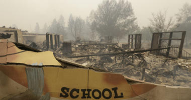 The burned remains of the Paradise Elementary school is seen in a Friday, Nov. 9, 2018 file photo, in Paradise, Calif.