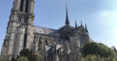 Notre Dame cathedral is shown on Sunday, April 14, a day before it burned.