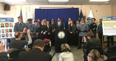 """N.J. Attorney General Gurbir Grewal announces the first """"ghost gun"""" seizures and arrests, under a new law banning untraceable weapons."""