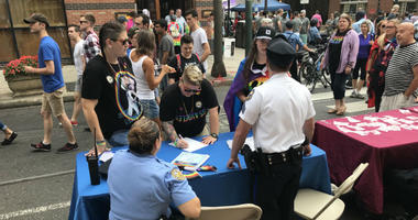 The Philadelphia Police Department also had a booth during OutFest, representing the Gay Offices Action League (GOAL).