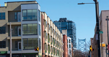 New housing in Old City is filling in the gaps around the Benjamin Franklin Bridge.