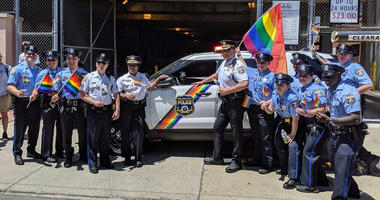 Philadelphia police officers marched in uniform in the 2019 Philadelphia Pride Parade.