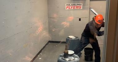 "The Wells Fargo Center has installed a ""rage room"" to amuse Flyers fans."