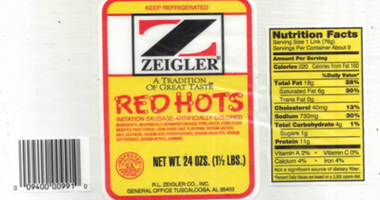 More than 11,000 pounds of Zeigler Red Hots ready-to-eat chicken and pork sausage products have been recalled.