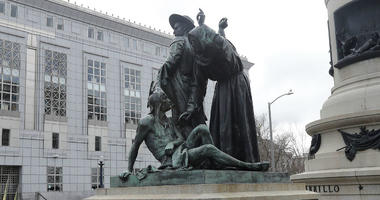 This March 2, 2018 file photo shows a statue that depicts a Native American at the feet of a Spanish cowboy and Catholic missionary in San Francisco.