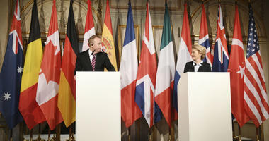 German minister of Defense Ursula von der Leyen, right, looks to United States Secretary of Defense Patrick Shanahan at a press conference during the International Security Conference in Munich, Germany, Friday, Feb. 15, 2019.