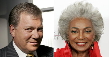 "This combination photo shows actor William Shatner on the set of ABC's ""Boston Legal"" in Manhattan Beach, Calif., on Sept. 13, 2004, left, and actress Nichelle Nichols attending an all-star tribute concert for jazz icon Herbie Hancock in Los Angeles"