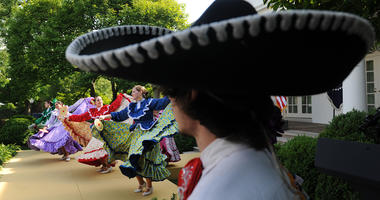The Ballet Folklorico Mexicano performs during a Cinco de Mayo reception in the Rose Garden at the White House in Washington, DC, in 2012.
