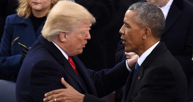 U.S. President Donald Trump is greeted by former U.S. President Barack Obama after delivering his inaugural address during the presidential inauguration ceremony at the U.S. Capitol in Washington D.C., the United States, on Jan. 20, 2017.