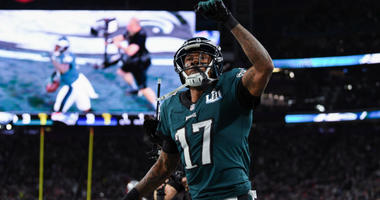 Philadelphia Eagles wide receiver Alshon Jeffery (#17) celebrates a touchdown catch during the first quarter of Super Bowl LII.