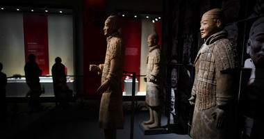 "HAIKOU, Feb. 15, 2018 (Xinhua) -- Photo taken on Feb. 15, 2018 shows Terra-Cotta Warriors during an exhibition of ""Civilization of Qin (221-207 B.C.) and Han Dynasties (206 B.C.- 220 A.D.)"" in Hainan Museum in Haikou, south China's Hainan Province."