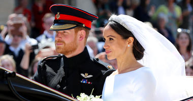 Meghan Markle and Prince Harry leave St George's Chapel at Windsor Castle after their wedding.