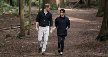 The Duke and Duchess of Sussex walk through a forest during a visit to Redwoods Tree Walk and Mountain Biking Showcase in Rotorua, New Zealand, on day four of the royal couple's tour of New Zealand.