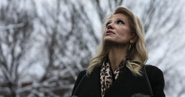 Counselor to the President, Kellyanne Conway speaks to members of the media outside of the West Wing of the White House on January 14, 2018 in Washington, DC.