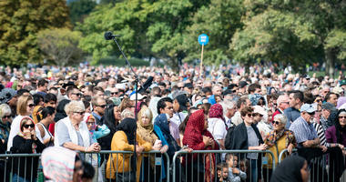 People attend a mourning ceremony in Christchurch.